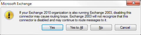 If your Exchange 2010 organization is also running Exchange 2003, disabling this connector may cause routing loops. Exchange 2003 will not recognize that this connector is disabled and may continue to route messages to it.